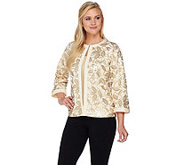 Bob Mackie's 3/4 Sleeve Sequin Knit Jacket with Solid Trim - A276556