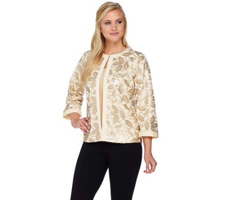 Bob Mackie's 3/4 Sleeve Sequin Knit Jacket with Solid Trim