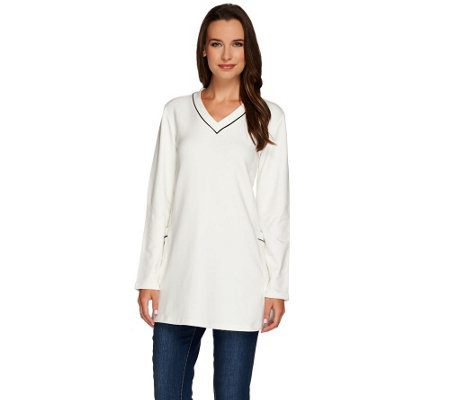"""As Is"" Susan Graver Weekend Brushed Back Knit Raglan Sleeve Tunic"