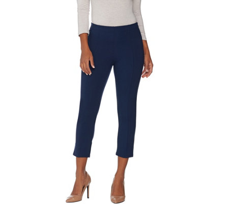 H by Halston Petite VIP Ponte Crop Leggings with Seam Detail