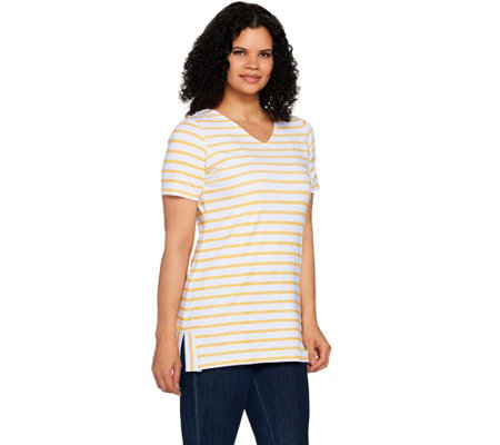 Denim Co Active Striped Short Sleeve V Neck Tunic With Side Slits