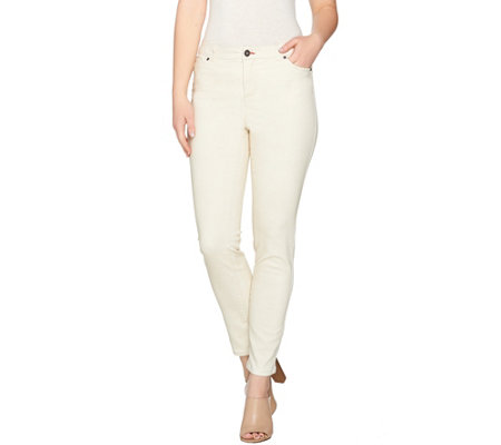 """As Is"" Peace Love World Peached Sateen 5-Pocket Slim Leg Jeans"