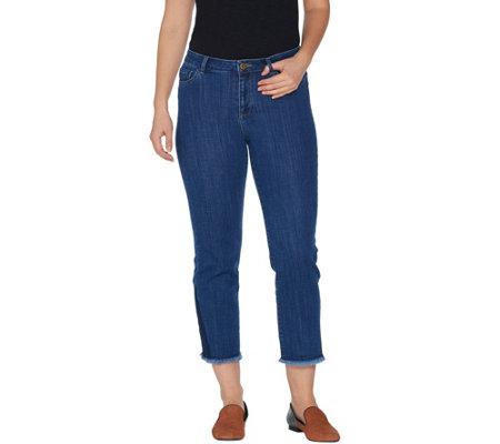 Logo By Lori Goldstein Petite Straight Leg Crop Jeans W Hem Detail