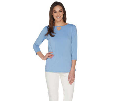 Joan Rivers Jersey Knit Tunic with Keyhole Neckline