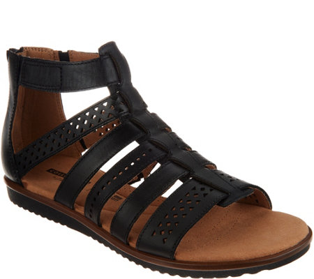 Clarks Leather Adjustable Gladiator Sandals - Kele Lotus