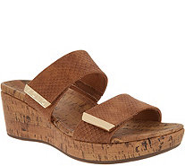 Vionic Leather Snake Slide Wedges - Pepper - A307356