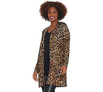 Susan Graver Foil Printed Duster and Knit Tank Set - A344656