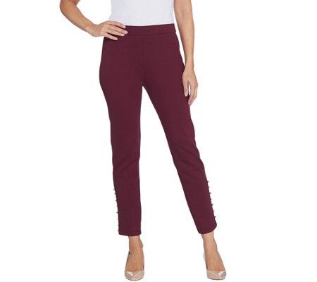 Susan Graver Petite Ponte Knit Slim Leg Ankle Pants