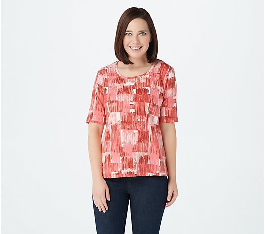 Denim & Co. Perfect Jersey Printed Elbow-Sleeve Scoop-Neck Top
