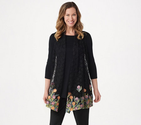GRAVER Susan Graver Embroidered Lace Open Front Vest