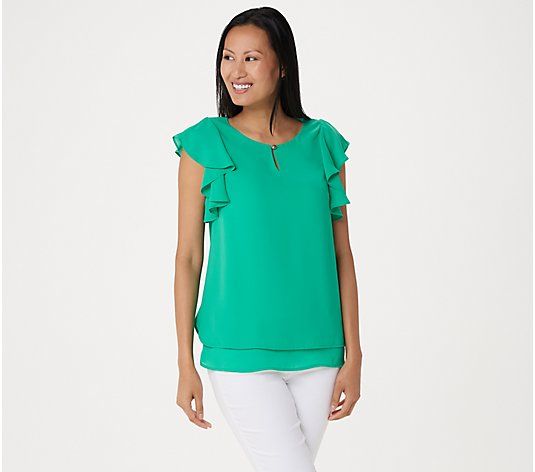 Susan Graver Woven Top with Layered Ruffle Sleeves and Keyhole