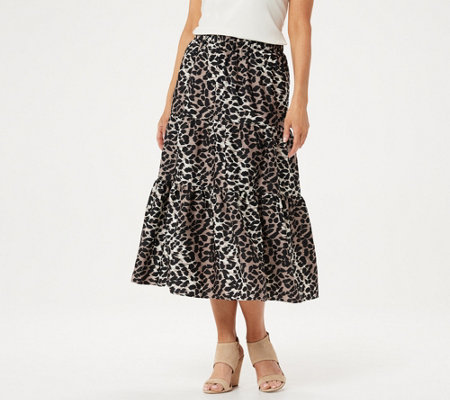 H by Halston Petite Animal Printed Washed Satin Midi Skirt