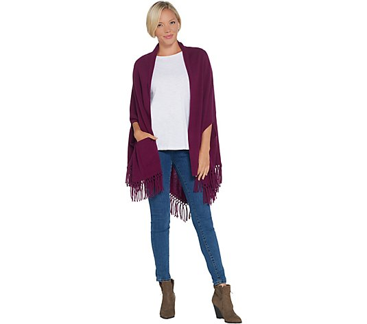 """As Is"" Isaac Mizrahi Live! 2-Ply Cashmere Fringe Wrap"