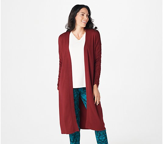 Attitudes by Renee Regular Ruched Sleeve Open Front Cardigan
