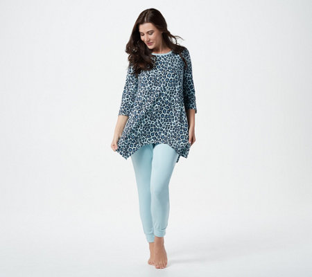 AnyBody Cozy Knit Leopard Top and Legging Set