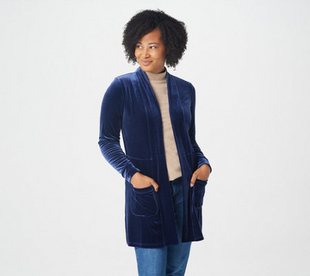 Isaac Mizrahi Live! Velvet Seamed Cardigan with Pockets