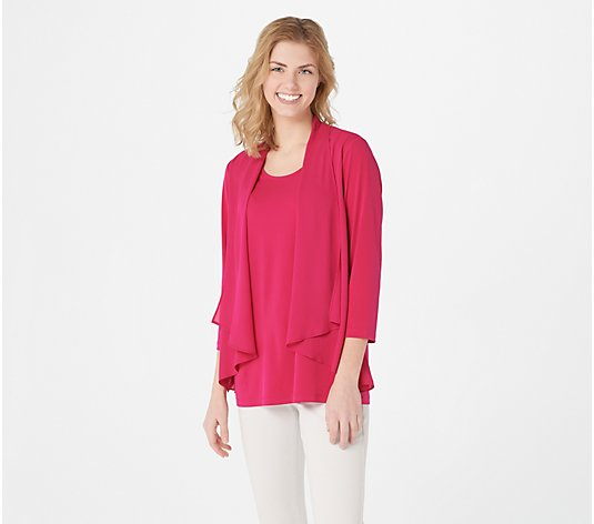Every Day by Susan Graver Liquid Knit Top with Woven Overlay