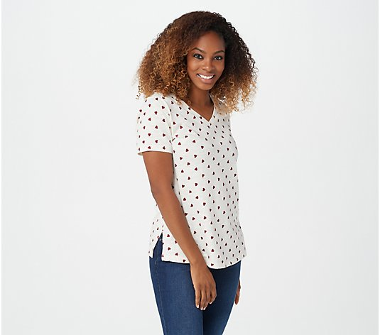 Belle by Kim Gravel Slub Knit Printed T-Shirt