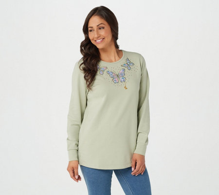 Quacker Factory Motif French Terry Knit Top with Charm