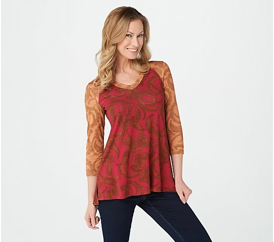 LOGO by Lori Goldstein Color-Blocked Rayon 230 Top w/ Neck Detail