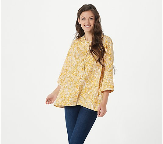 Isaac Mizrahi Live! Printed Crepe Button Front Top