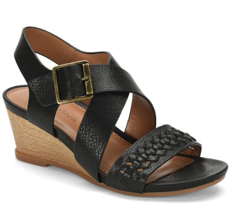 Comfortiva Leather Wedge Sandals - Simone