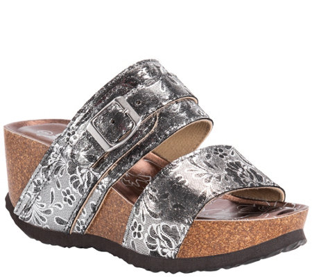 Muk Luks Slip On Wedge Sandals With Floral Detail Emery