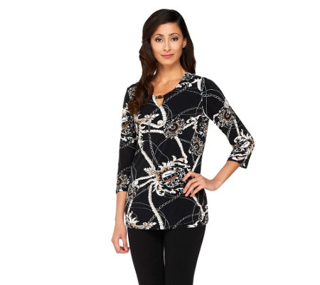 Susan Graver Liquid Knit Printed Top w/ Beaded Keyhole Neckline