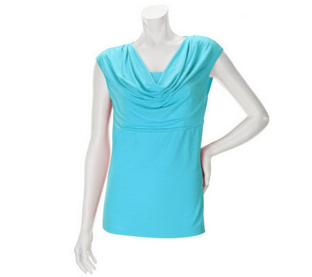 Linea by Louis Dell'Olio Feather Jersey Drape Neck Shoulder Top