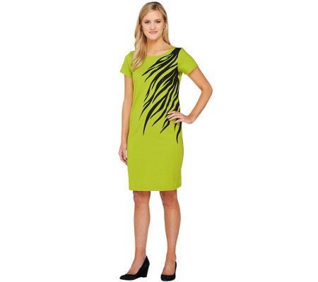 Bob Mackie's Short Sleeve Asymmetrical Zebra Print & Sequin Dress