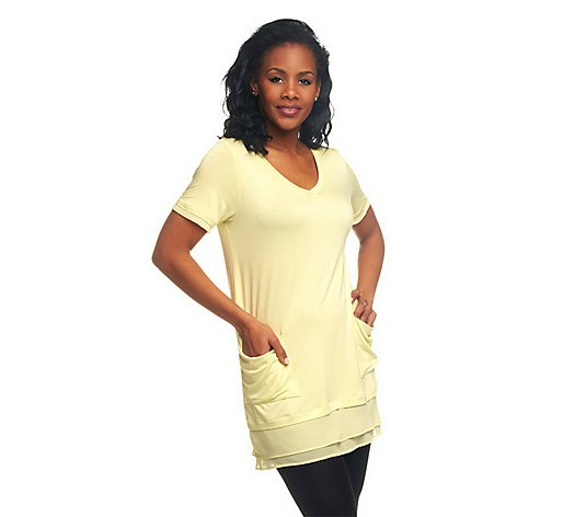 """As Is"" LOGO by Lori Goldstein Chiffon Trim Tee with Front Pockets"