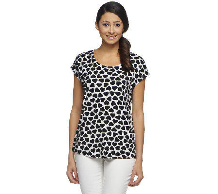 Susan Graver Liquid Knit Black and White Printed Top w/ Cap Sleeves