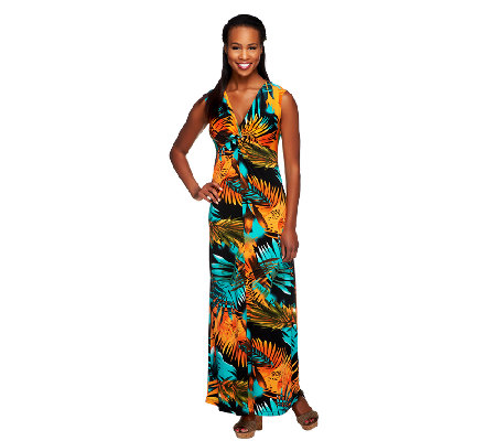 Attitudes by Renee Tall V-Neck Knot Front Maxi Dress