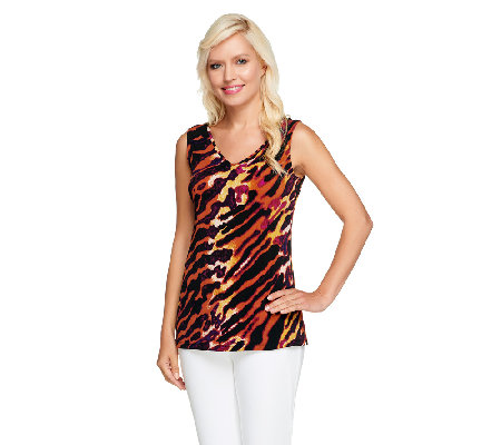 Susan Graver Printed Liquid Knit V-Neck Sleeveless Tank