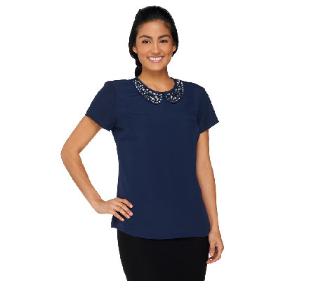 Dennis Basso Top with Embellished Peter Pan Collar