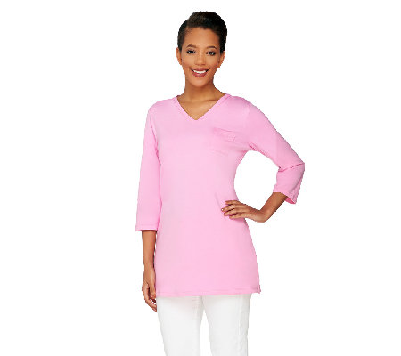 Denim & Co. Essentials Jersey V-Neck 3/4 Sleeve Knit Tunic