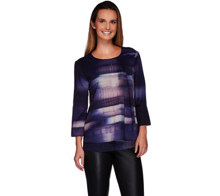H by Halston Photo Real City Scape Print Double Layer Woven Blouse