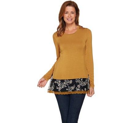 LOGO by Lori Goldstein Knit Top with Embroidered Lace Trim