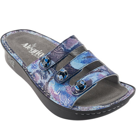 """As Is"" Alegria Printed Triple Strap Sandals - Fiona"