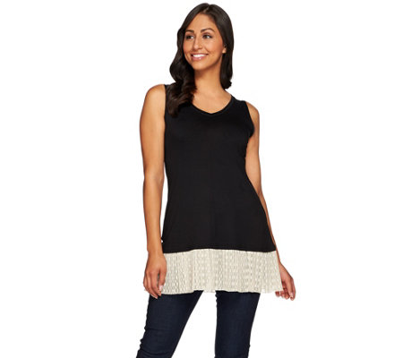"""As Is"" LOGO Layers by Lori Goldstein Knit Tank with Broomstick Mesh"