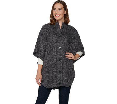 Denim & Co. Stand Collar Button Front Cable Detail Poncho Sweater