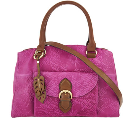 Tignanello Embossed Vintage Leather Satchel Handbag