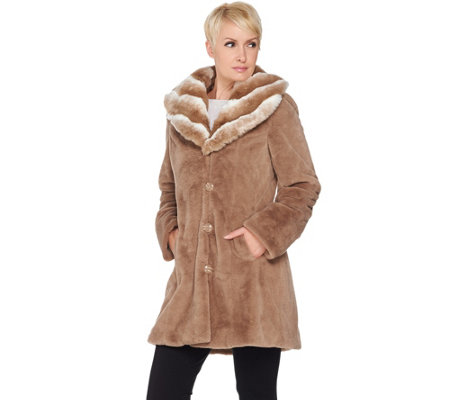 """As Is"" Dennis Basso Faux Fur Coat with Removable Hood and Collar"