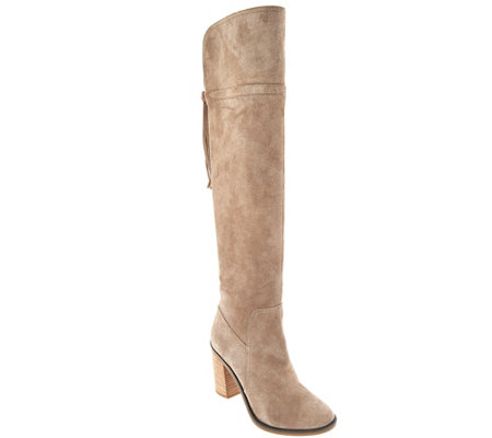 """As Is"" Franco Sarto Over the Knee Suede Boots w/ Tassel Eckhart"