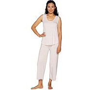 Barefoot Dreams Luxe Milk Jersey Sleeveless Tee & Crop Pant Set - A294657