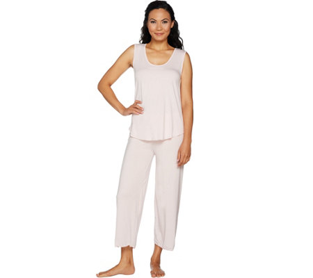 Barefoot Dreams Luxe Milk Jersey Sleeveless Tee Crop Pant Set