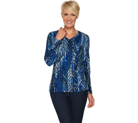 Susan Graver Brushed Liquid Knit V-Neck Top