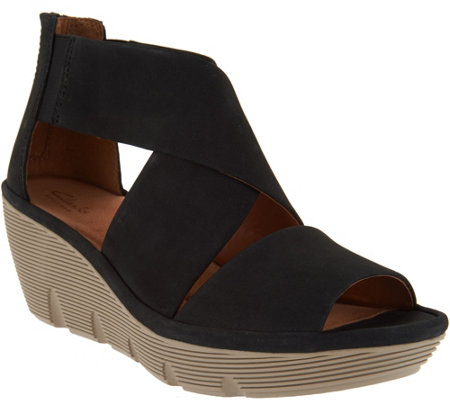 """As Is"" Clark's Artisan Nubuck Leather backZip Wedge Sandals - Clarene Glamour"
