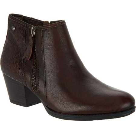 Earth Leather Ankle Boots w/ Embossed Detail - Osprey