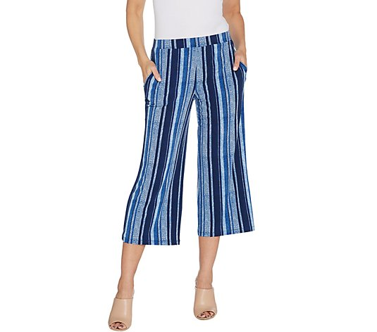 Susan Graver Printed Liquid Knit Pull-On Crop Pants